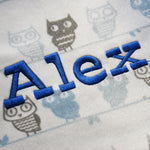 baby blanket with royal blue name in western font
