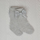 Grey Knee Length Socks With Bow
