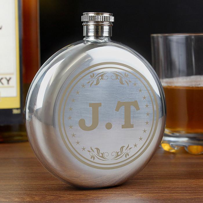 Monogram Round Hip Flask-Dcaro Personalised Gifts