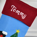 Personalised Blue Christmas Snowman Stocking