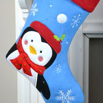 Personalised Blue Penguin Christmas Stocking