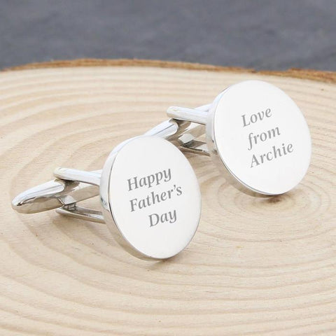 Personalised Any Message Round Cufflinks-Dcaro Personalised Gifts