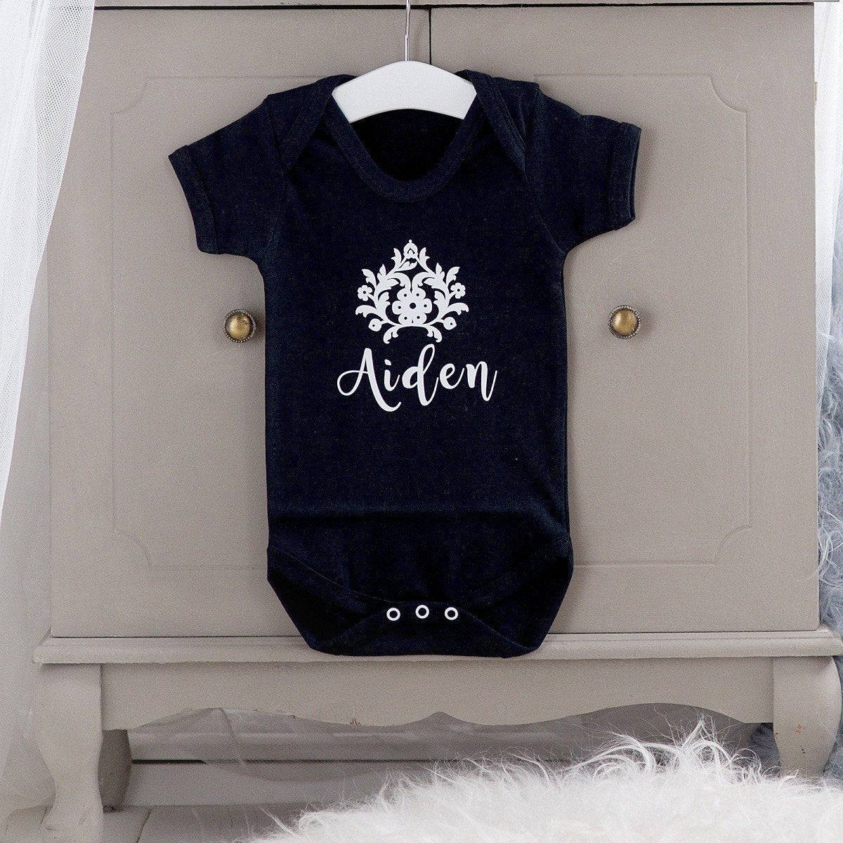 Personalised Black Bodysuit With Flower-Dcaro Personalised Gifts