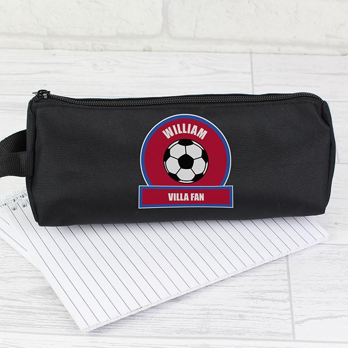 Personalised Claret and Blue Football Fan Pencil Case-Dcaro Personalised Gifts