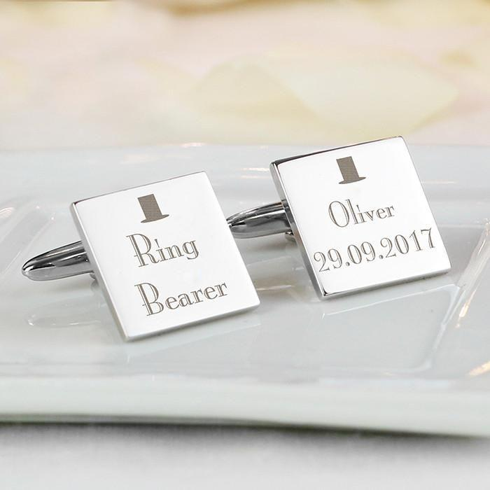 Personalised Decorative Wedding Any Role Square Cufflinks-Dcaro Personalised Gifts