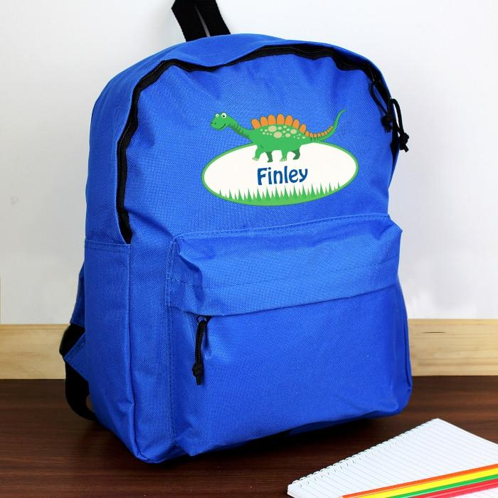 Personalised Dinosaur Blue Backpack | Back to school