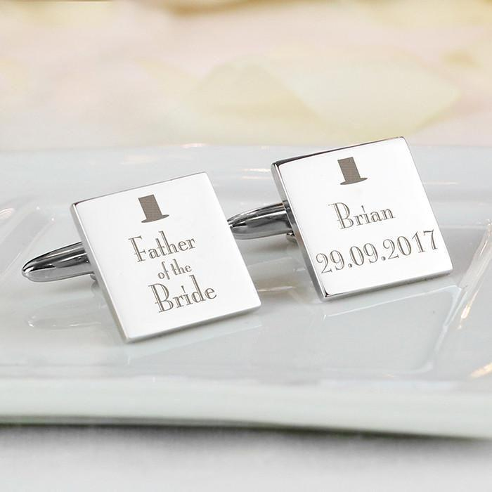 Personalised Father of the Bride Square Cufflinks-Dcaro Personalised Gifts