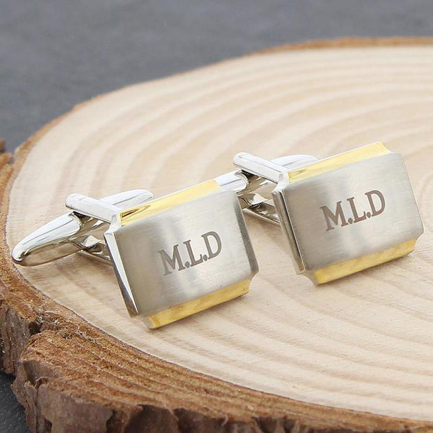 Personalised Gold Plated Cufflinks-Dcaro Personalised Gifts