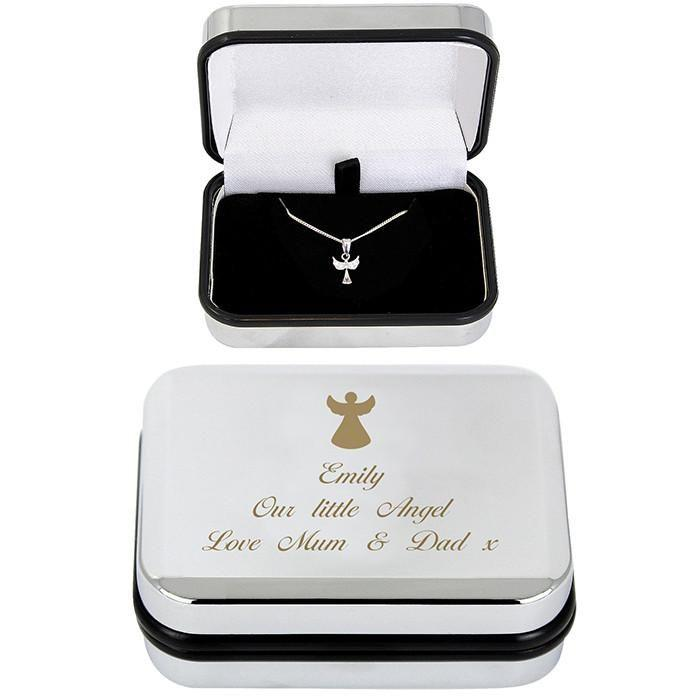 Personalised Guardian Angle Necklace & Box-Dcaro Personalised Gifts