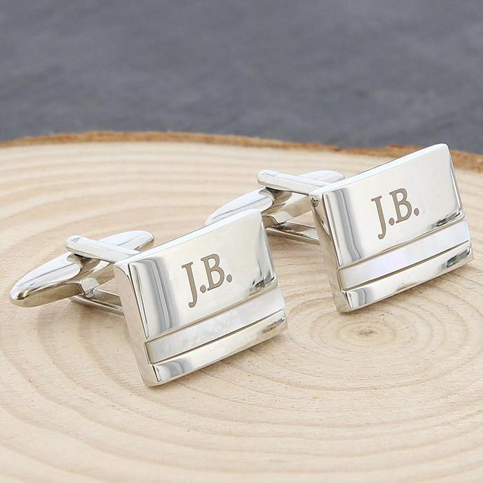 Personalised Mother of Pearl Cufflinks-Dcaro Personalised Gifts