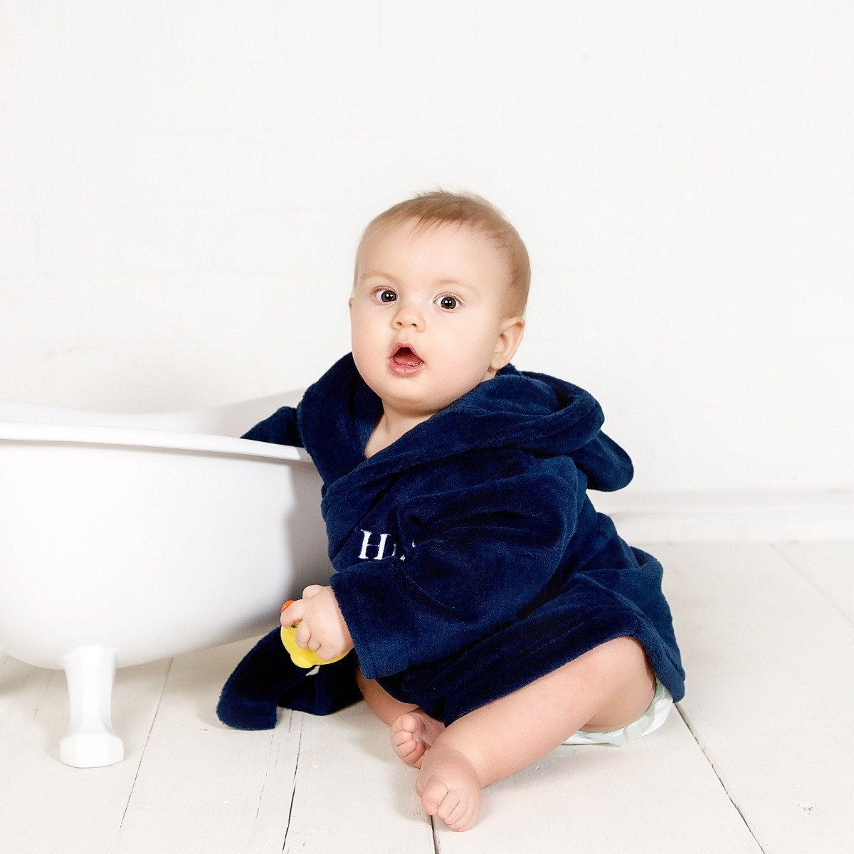 Personalised Navy Blue Fleece Robe-Dcaro Personalised Gifts
