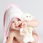 Personalised Pink Baby Hooded Towel-Dcaro Personalised Gifts