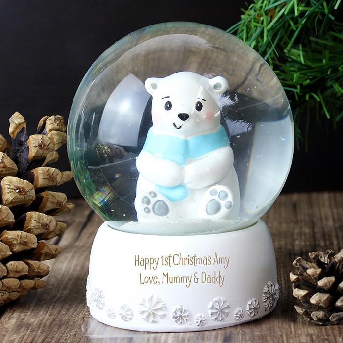 Personalised Polar Bear Snow Globe-Dcaro Personalised Gifts