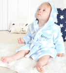 Personalised Star Print Blue Robe-Dcaro Personalised Gifts