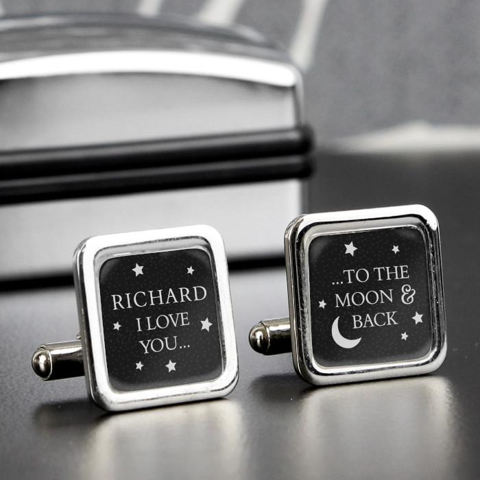 Personalised To the Moon and Back Cufflinks-Dcaro Personalised Gifts
