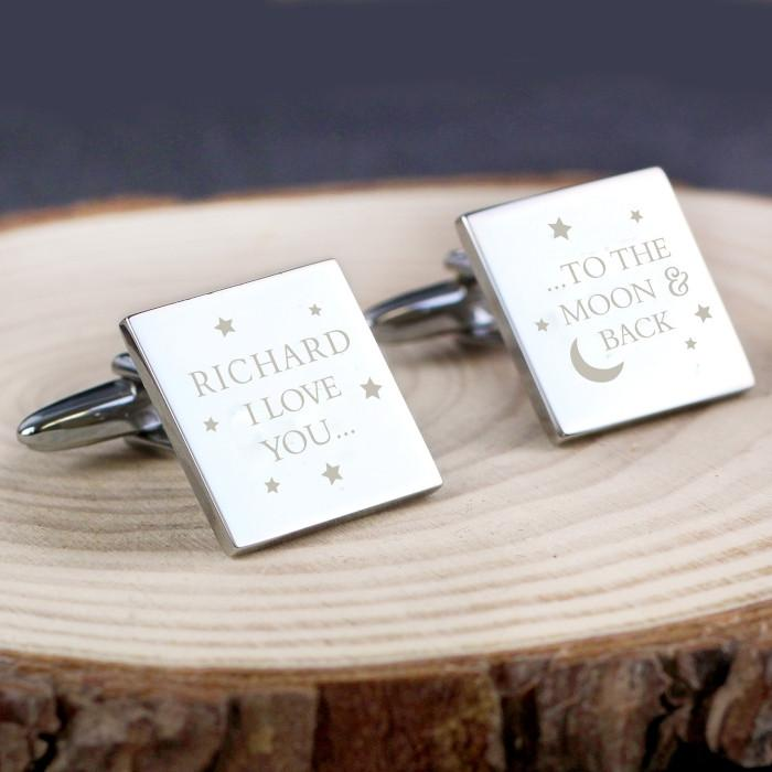 Personalised To the Moon and Back Square Cufflinks-Dcaro Personalised Gifts