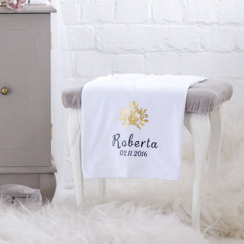 Personalised White Blanket With Gold Flower-Dcaro Personalised Gifts