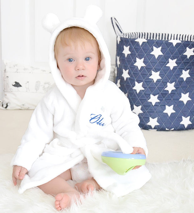 Personalised White Fleece Baby Robe-Dcaro Personalised Gifts