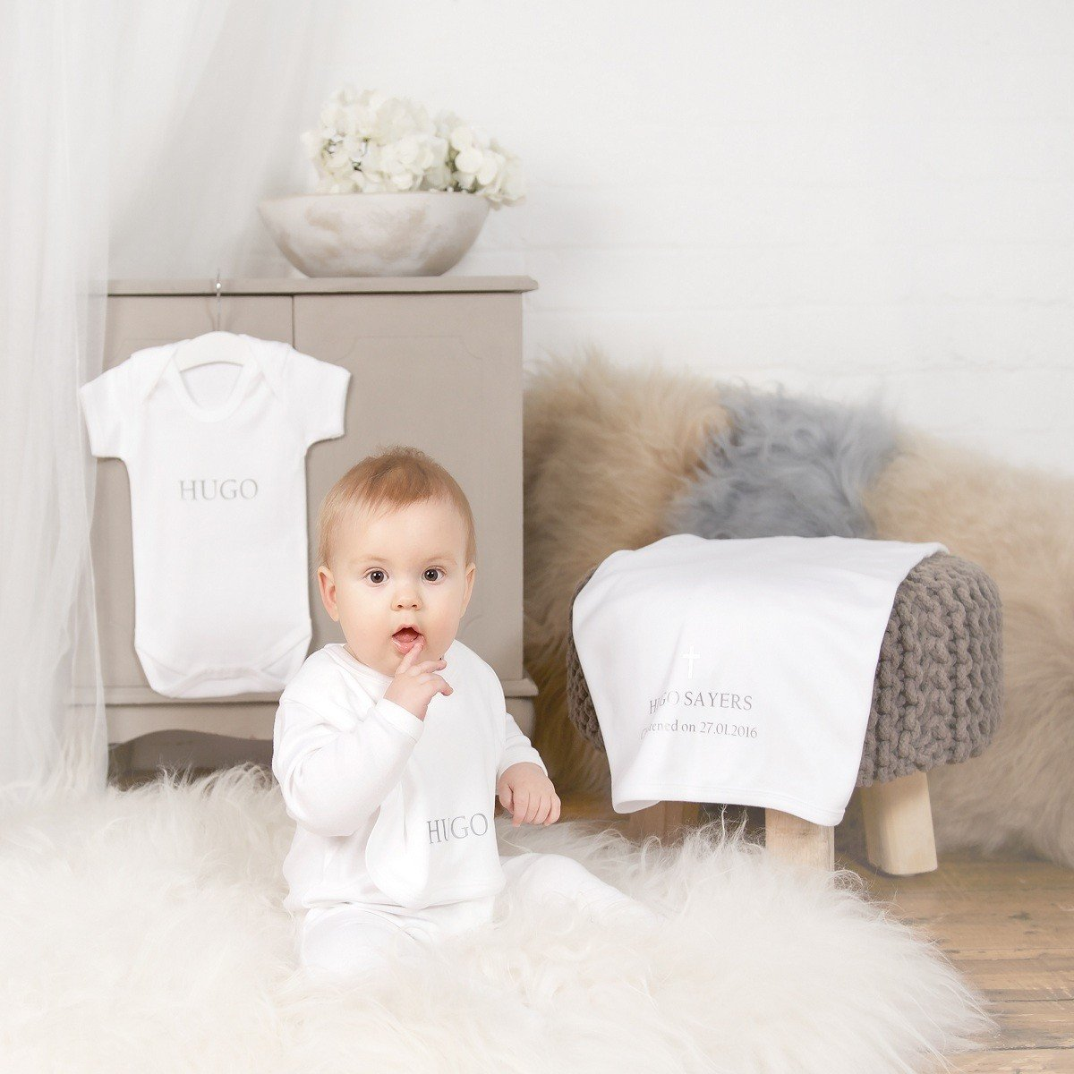 Personalised White - Silver Christening Gifts Set-Dcaro Personalised Gifts