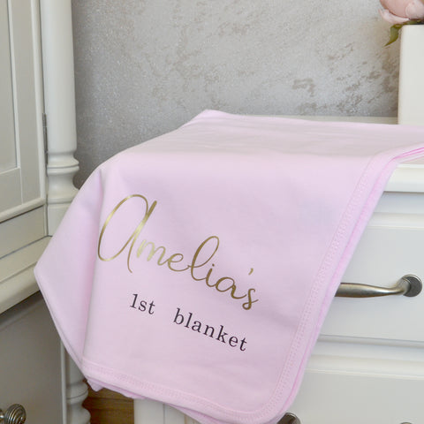 Personalised 1st Blanket For Baby Girl