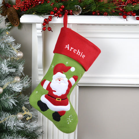 Personalised Green Christmas Stocking With Santa