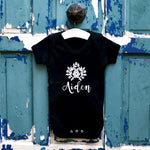 Personalised Black Bodysuit With Flower