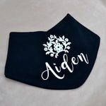 Personalised Cotton Black & White Bandana Bib