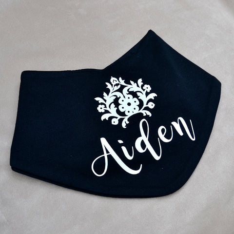 Personalised Black & White Bandana Bib