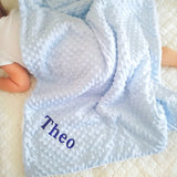 Personalised blue bubble baby blanket