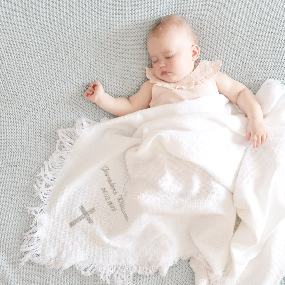 Personalised White Christening Baby Blanket