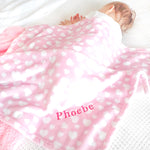 Personalised Pink Heart Fleece Blanket