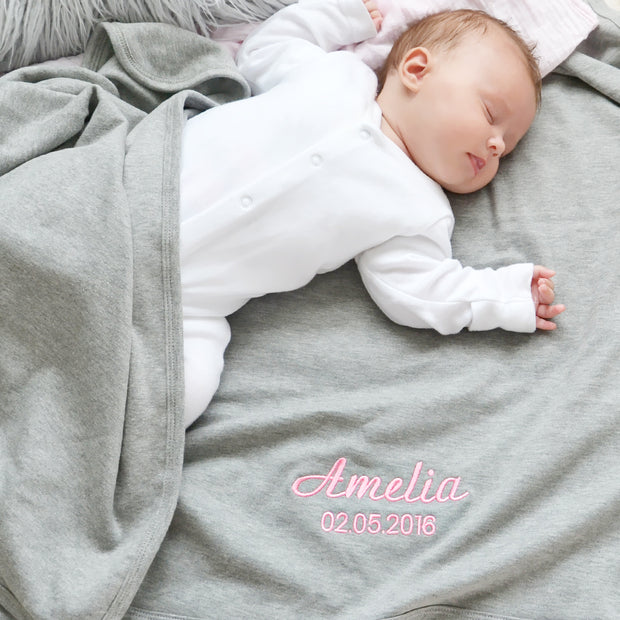 Personalised Gray Cotton Baby Blanket