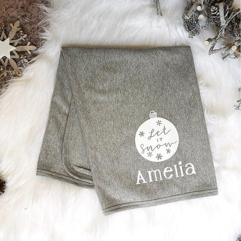 Personalised Grey Christmas Baby Blanket