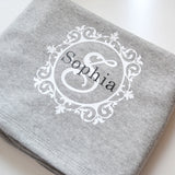 personalised initial grey blanket