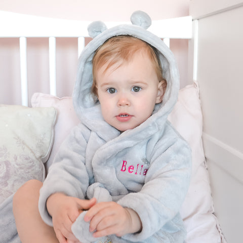 Personalised Grey Baby Bathrobe