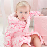 Personalised Pink Star Fleece Hooded Baby Robe
