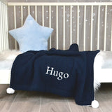 Personalised Navy Knitted Baby Blanket With Pom Poms