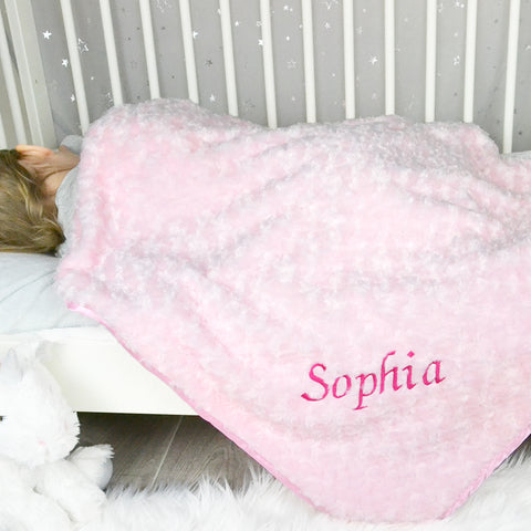 Personalised Rose Pink Baby Blanket