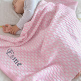 Personalised Pink Pink Knitted Baby Blanket