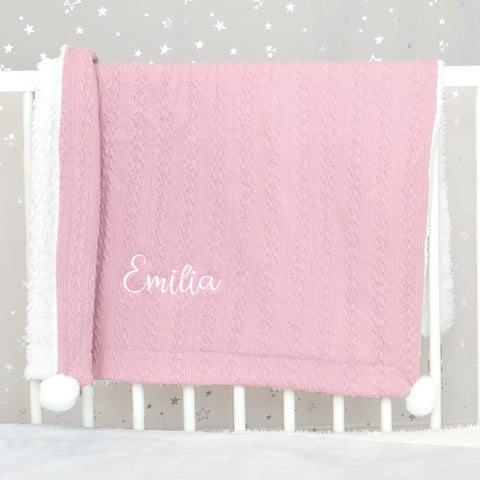 Personalised Pink Knitted Baby Blanket With Pom Poms