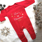 Personalised Red 1st Christmas Sleepsuit