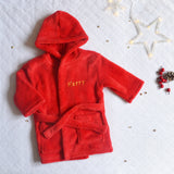 Personalised Red baby Bathrobe