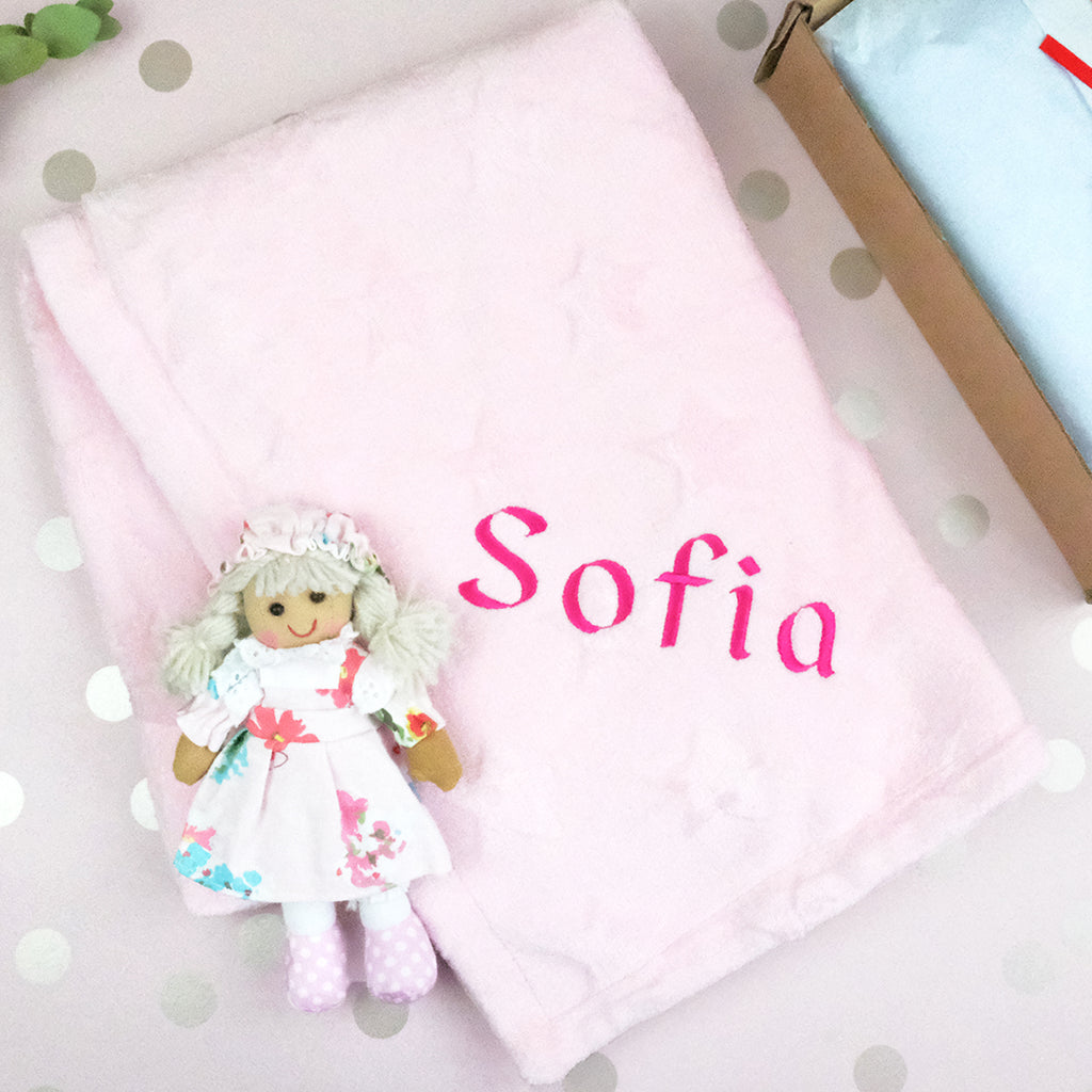 personalised baby blanket and rag doll set