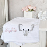 Personalised White Flece Blanket With Elephant
