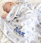Personalised blue fleece owl blanket for boys