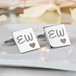 Square Initial Heart Cufflinks-Dcaro Personalised Gifts