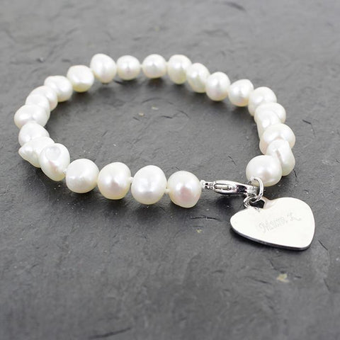 White Pearl Name Bracelet-Dcaro Personalised Gifts