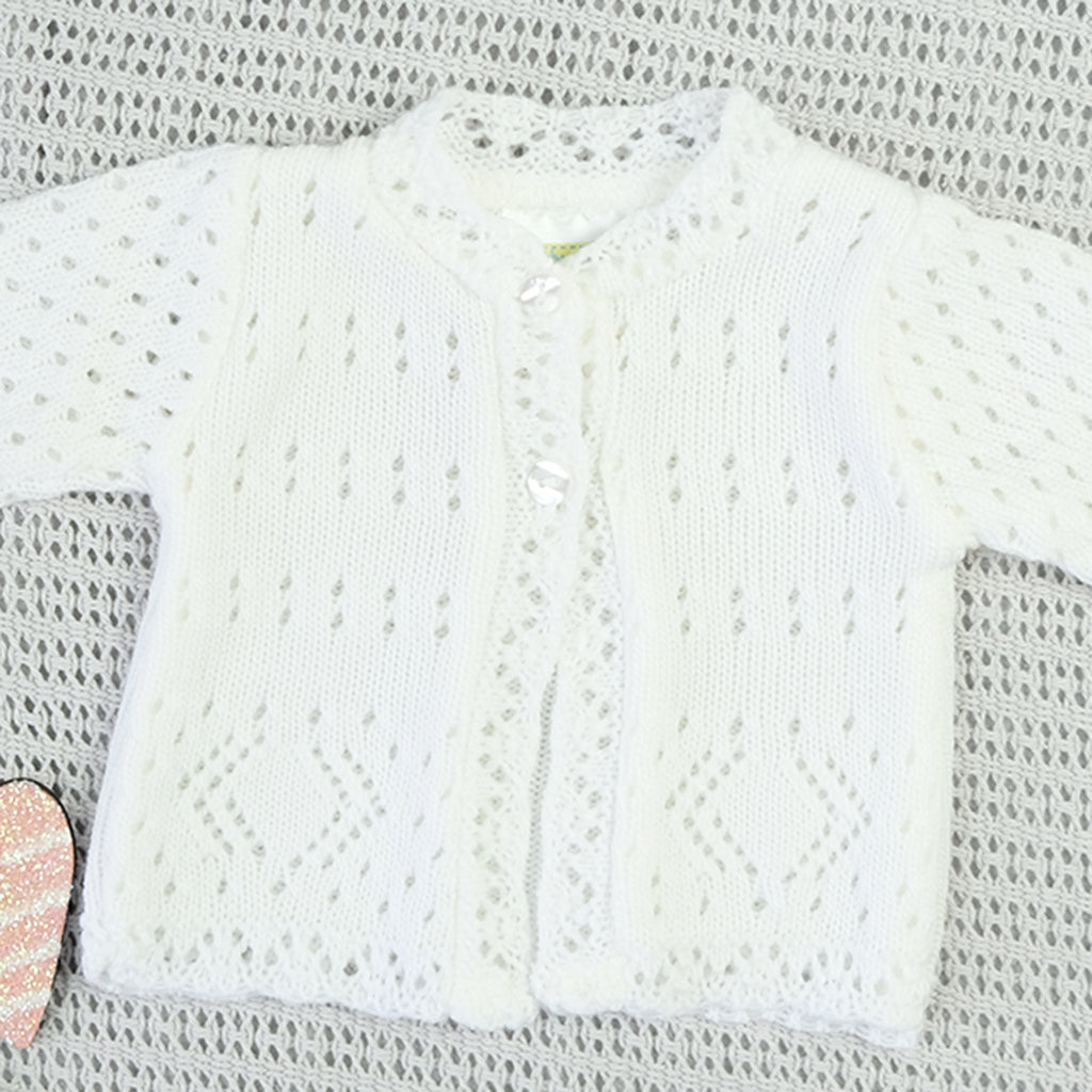 Newborn Baby White Knitted Cardigan