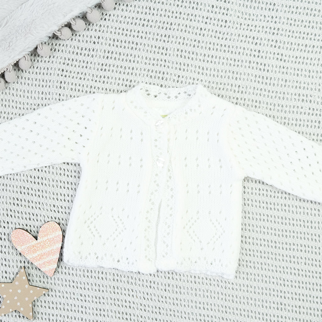 White Knitted Cardigan For Newborn Baby