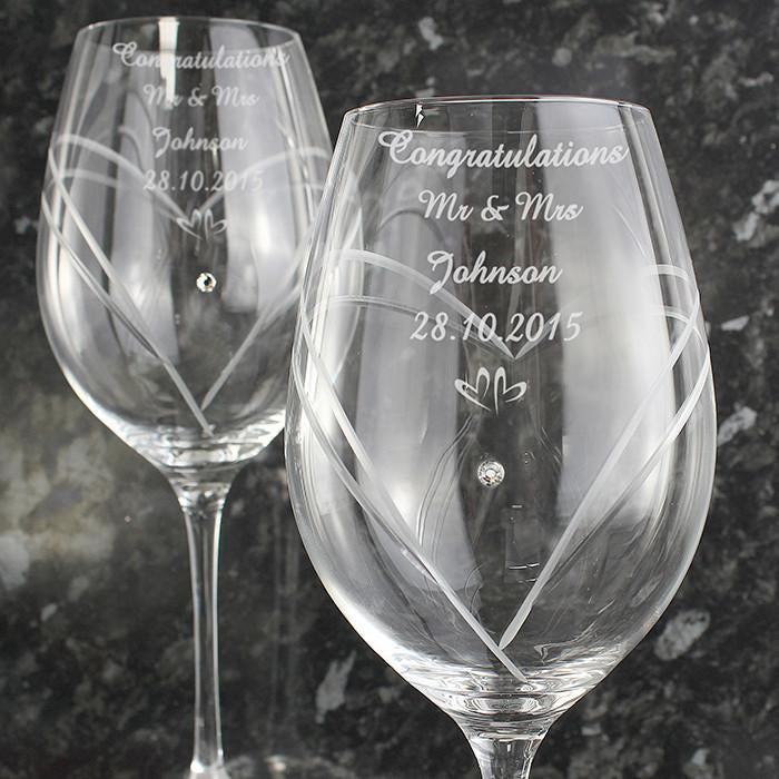 Wine Glasses With Swarovski Elements-Dcaro Personalised Gifts